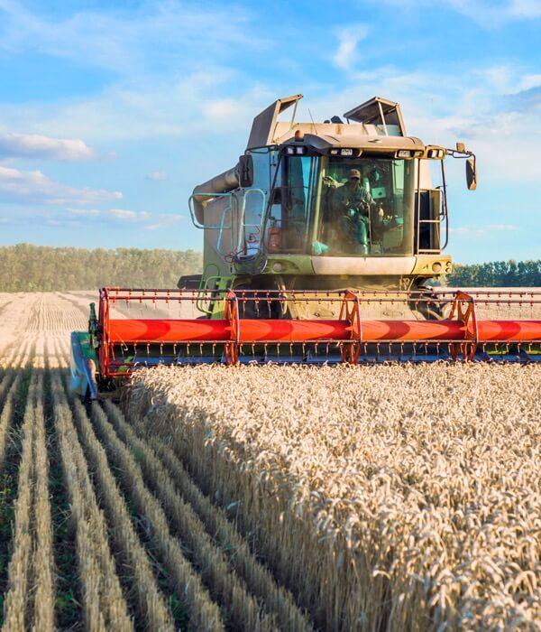 A combine in a field